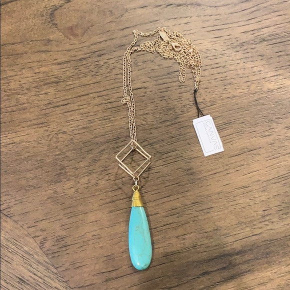 canvas Jewelry - Long gold and turquoise necklace by Canvas - new